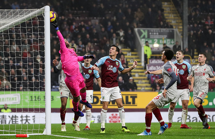 Liverpool's  Alisson Becker saves<br /> <br /> Photographer Andrew Kearns/CameraSport<br /> <br /> The Premier League - Burnley v Liverpool - Wednesday 5th December 2018 - Turf Moor - Burnley<br /> <br /> World Copyright © 2018 CameraSport. All rights reserved. 43 Linden Ave. Countesthorpe. Leicester. England. LE8 5PG - Tel: +44 (0) 116 277 4147 - admin@camerasport.com - www.camerasport.com
