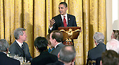 Washington, DC - March 4, 2009 -- United States President Barack Obama makes remarks to guests at  a dinner for Congressional  Committee chairmen and ranking members in the East Room of the White House on March 4, 2009..Credit: Dennis Brack - Pool via CNP