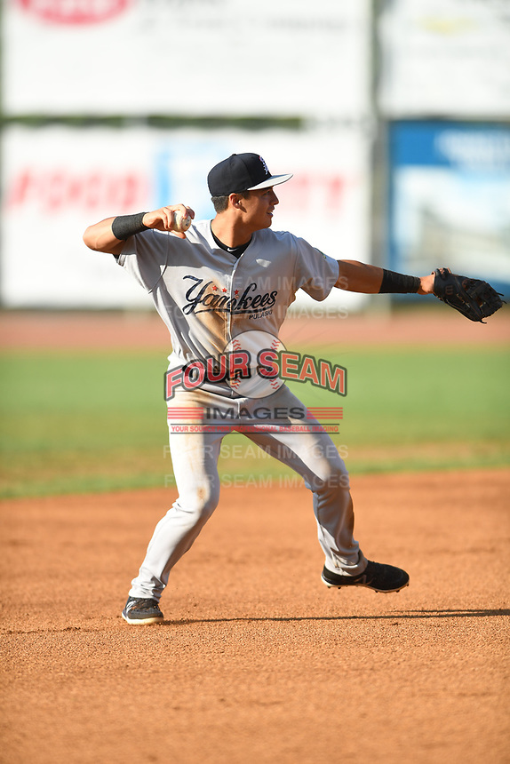 Pulaski Yankees shortstop Anthony Volpe (12) in action against the Bristol Pirates at Boyce Cox Field on July 8, 2019 in Bristol, Virginia. The Yankees defeated the Pirates 5-0. (Tracy Proffitt/Four Seam Images)