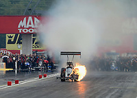 Sept. 1, 2012; Claremont, IN, USA: NHRA top fuel dragster driver Brady Kalivoda has an engine explode during qualifying for the US Nationals at Lucas Oil Raceway. Mandatory Credit: Mark J. Rebilas-