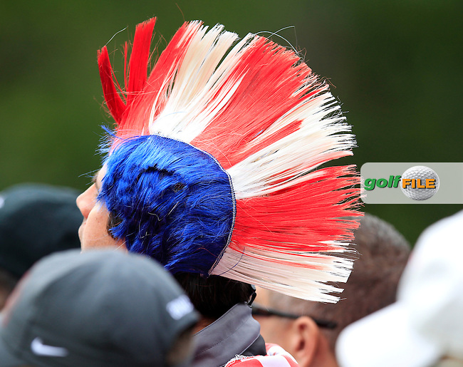 Colourful American fans watch the action at the 16th green during Friday Morning's Foursomes Matches of the 39th Ryder Cup at Medinah Country Club, Chicago, Illinois 28th September 2012 (Photo Eoin Clarke/www.golffile.ie)