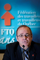 Michel Arsenault speaks in a press conference after he was officially granted the presidency of the FTQ, succeeding to Henry Masse, at the last day of the FTQ congress in Quebec City Friday November 30, 2007.