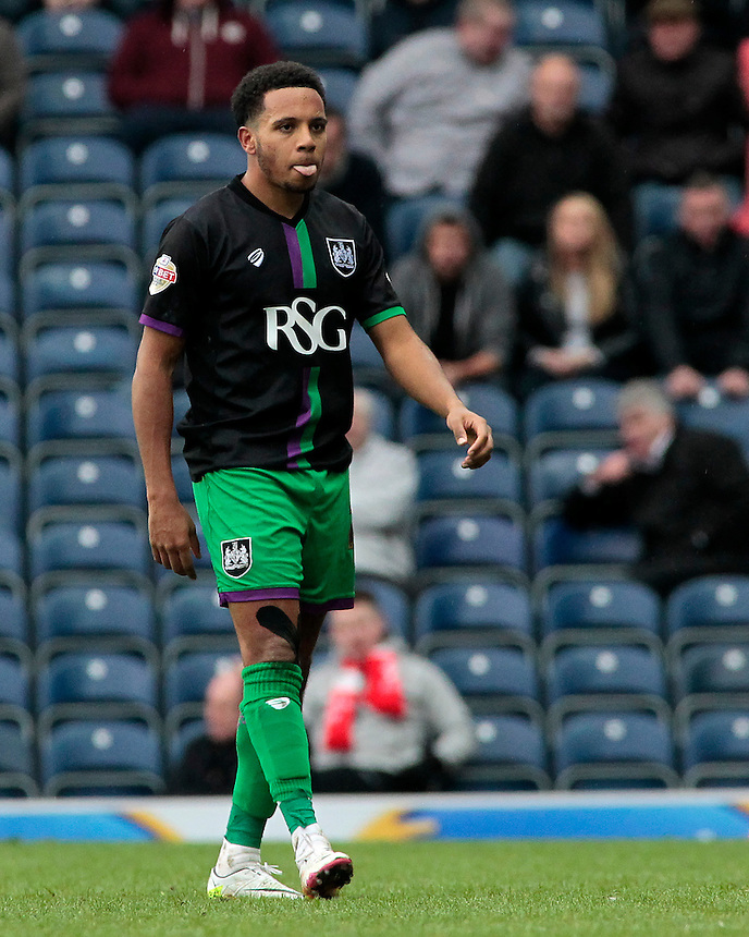Bristol City's Korey Smith after being sent off<br /> <br /> Photographer David Shipman/CameraSport<br /> <br /> Football - The Football League Sky Bet Championship - Blackburn Rovers v Bristol City - Saturday 23rd April 2016 - Ewood Park - Blackburn <br /> <br /> &copy; CameraSport - 43 Linden Ave. Countesthorpe. Leicester. England. LE8 5PG - Tel: +44 (0) 116 277 4147 - admin@camerasport.com - www.camerasport.com