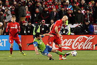 Toronto, ON, Canada - Saturday Dec. 10, 2016: Nicolas Lodeiro, Michael Bradley during the MLS Cup finals at BMO Field. The Seattle Sounders FC defeated Toronto FC on penalty kicks after playing a scoreless game.
