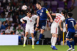 Vahid Amiri of Iran (L) fights for the ball with Yoshida Maya of Japan (C) during the AFC Asian Cup UAE 2019 Semi Finals match between I.R. Iran (IRN) and Japan (JPN) at Hazza Bin Zayed Stadium  on 28 January 2019 in Al Alin, United Arab Emirates. Photo by Marcio Rodrigo Machado / Power Sport Images