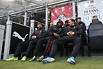 Zlatan Ibrahimovic of AC Milan speaks with team mate Rafael Leao on the bench before the Serie A match at Giuseppe Meazza, Milan. Picture date: 6th January 2020. Picture credit should read: Jonathan Moscrop/Sportimage