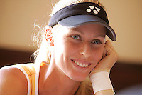 Elena Dementieva of Russia, currently 6th ranked on WTA Tour, smiles during interviews on media day at Acura Classic women's tennis tournament, Carlsbad, California, USA on August 01, 2005.  Major seeded players Maria Sharapova, Serena Williams and Lindsay Davenport have withdrawn due to injuries. While Elena Dementieva and Kim Clijsters begin competing this week with finals on August 7, 2005. (Photo Copyright 2005 Tom Theobald)