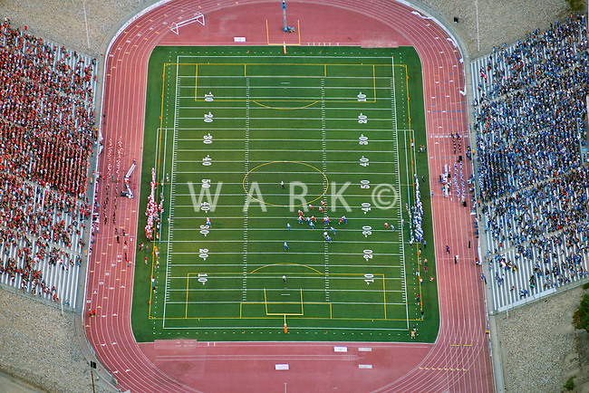 Aerial views of Bell Game, Pueblo, Colorado.  Centennial and Central High Schools.  2013