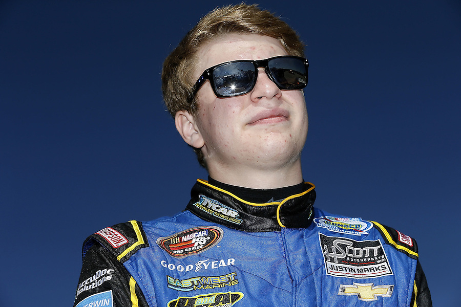 MOBILE, AL - MARCH 13: Tyler Dippel, driver of the #38 East West Marine/TyCar Chevrolet, reacts during parctice for the NASCAR K&N Pro Series East Mobile 150 on March 13, 2016 in Mobile, Alabama.  (Photo by Jonathan Bachman/NASCAR via Getty Images)