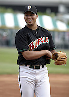June 4, 2004:  Shortstop Jhonny Peralta of the Buffalo Bisons, International League (AAA) affiliate of the Cleveland Indians, during a game at Dunn Tire Park in Buffalo, NY.  Photo by:  Mike Janes/Four Seam Images