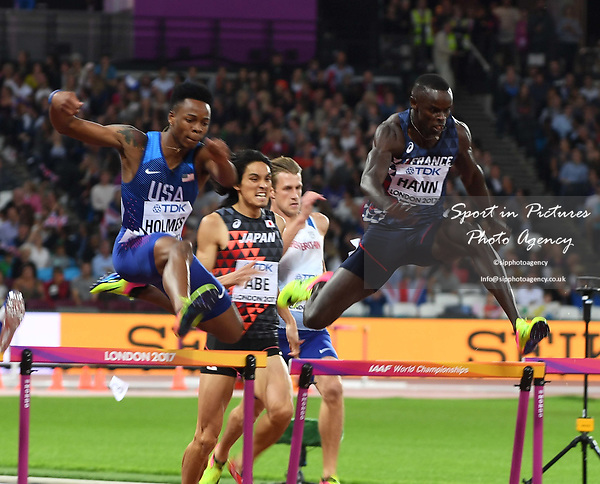 TJ HOLMES (USA) and Jaheel HYDE (JAM) jump the last hurdle in the mens 400m hurdles semi-final. IAAF world athletics championships. London Olympic stadium. Queen Elizabeth Olympic park. Stratford. London. UK. 07/08/2017. ~ MANDATORY CREDIT Garry Bowden/SIPPA - NO UNAUTHORISED USE - +44 7837 394578