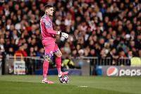 26th February 2020; Estadio Santiago Bernabeu, Madrid, Spain; UEFA Champions League Football, Real Madrid versus Manchester City; Ederson Moraes (Manchester City) puts his foot on the ball before redistributing back into play