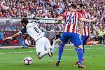 Atletico de Madrid's player Kevin Gameiro and Juanfran Torres and Deportivo de la Coruña's player Albentosa during a match of La Liga Santander at Vicente Calderon Stadium in Madrid. September 25, Spain. 2016. (ALTERPHOTOS/BorjaB.Hojas)