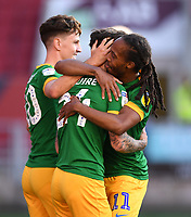 22nd July 2020; Ashton Gate Stadium, Bristol, England; English Football League Championship Football, Bristol City versus Preston North End; Sean Maguire of Preston North End celebrates with his team after scoring in the 16th minute 0-1