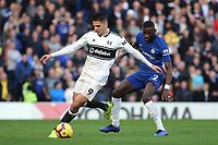 Aleksandar Mitrovic of Fulham in possession as Chelsea's Antonio Rudiger looks on during Chelsea vs Fulham, Premier League Football at Stamford Bridge on 2nd December 2018