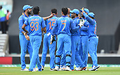 June 18th 2017, The Kia Oval, London, England;  ICC Champions Trophy Cricket Final; India versus Pakistan; India players celebrate the dismissal of Shoaib Malik of Pakistan