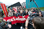 Members of Civil Society and delegates from countries from COP 15 stage a protest inside the Bella Center. The individuals were from a diverse range of groups and marched out to join the Reclaim the Power action outside of the COP. They  were protesting the current stage of talks and the current lockout of civil society from the COP.  (Images provided for editorial web usage for members of the Fresh Air Center during COP 15)