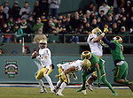 (Boston, MA, 11/21/15) Boston College quarterback Jeff Smith looks to pass against Notre Dame during the fourth quarter as Notre Dame hosts Boston College at Fenway Park in Boston on Saturday, November 21, 2015. Photo by Christopher Evans