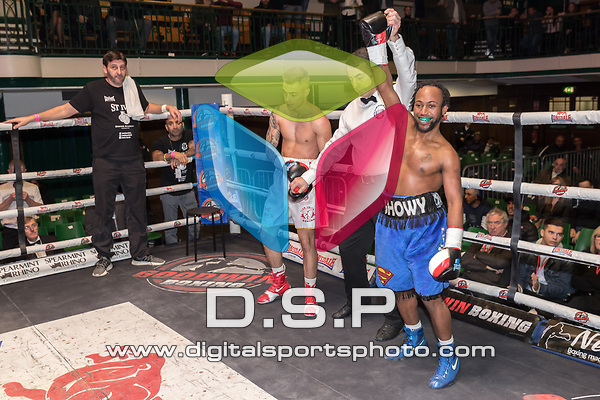 Jack Smith vs Reiss Taylor 4x3 - Super Flyweight Contest During Goodwin Boxing - Summit. Photo by: Simon Downing.<br /> <br /> Saturday December 2nd 2017 - York Hall, Bethnal Green, London, United Kingdom.