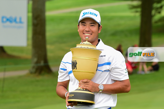 Hideki Matsuyama (JPN) with the trophy for winning the World Golf Championships - Bridgestone Invitational, at the Firestone Country Club, Akron, Ohio. 8/6/2017.<br /> Picture: Golffile | Ken Murray<br /> <br /> <br /> All photo usage must carry mandatory copyright credit (&copy; Golffile | Ken Murray)