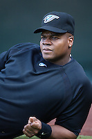 Frank Thomas of the Toronto Blue Jays during batting practice before a game from the 2007 season at Angel Stadium in Anaheim, California. (Larry Goren/Four Seam Images)