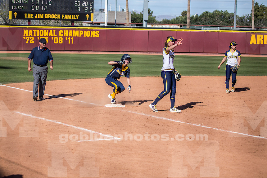 The University of Michigan softball team defeats the University of Toledo, 20-5 (in 5 innings), in the ASU Louisville Slugger Invitational in Tempe, Ariz., on Feb. 27, 2015.