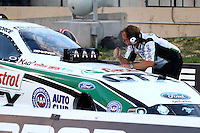 Jul. 19, 2013; Morrison, CO, USA: NHRA crew chief Jimmy Prock for funny car driver John Force during qualifying for the Mile High Nationals at Bandimere Speedway. Mandatory Credit: Mark J. Rebilas-