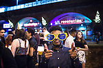 """© Joel Goodman - 07973 332324 . 19/12/2015 . Manchester , UK . Deansgate Locks . Revellers in Manchester enjoy """" Mad Friday """" - also known as """" Black Eye Friday """" - the day on which emergency services in Britain are typically at their busiest , as people head out for parties and drinks to celebrate Christmas . Photo credit : Joel Goodman"""