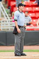 Home plate umpire Blake Felix prior to the South Atlantic League game between the Lakewood BlueClaws and the Hickory Crawdads at L.P. Frans Stadium on June 5, 2011 in Hickory, North Carolina.   Photo by Brian Westerholt / Four Seam Images