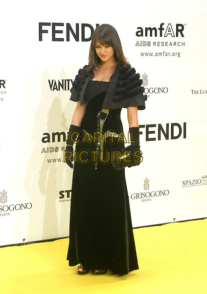 ASIA ARGENTO.Inauguration for the amfARr's Cinema Against AIDS during the 2nd Annual Rome Film Festival, Rome, Italy, .26 October 2007..full length black dress gloves shrug cropped jacket fur.CAP/CAV.©Luca Cavallari/Capital Pictures.