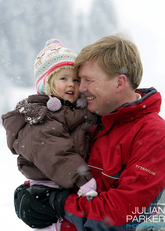Crown Prince Willem-Alexander & Crown Princess Maxima of Holland, with daughters Princess Catharina-Amalia & Princess Alexia, pose for photographs at the start of their annual skiing holiday in Lech Austria...