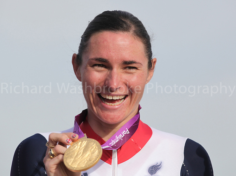 Paralympics London 2012 - ParalympicsGB - Cycling Road..Sarah Storey wins Gold after winning the Women's Individual C 4-5 Road Race held at Brands Hatch 6th September 2012 at the Paralympic Games in London. Photo: Richard Washbrooke/ParalympicsGB