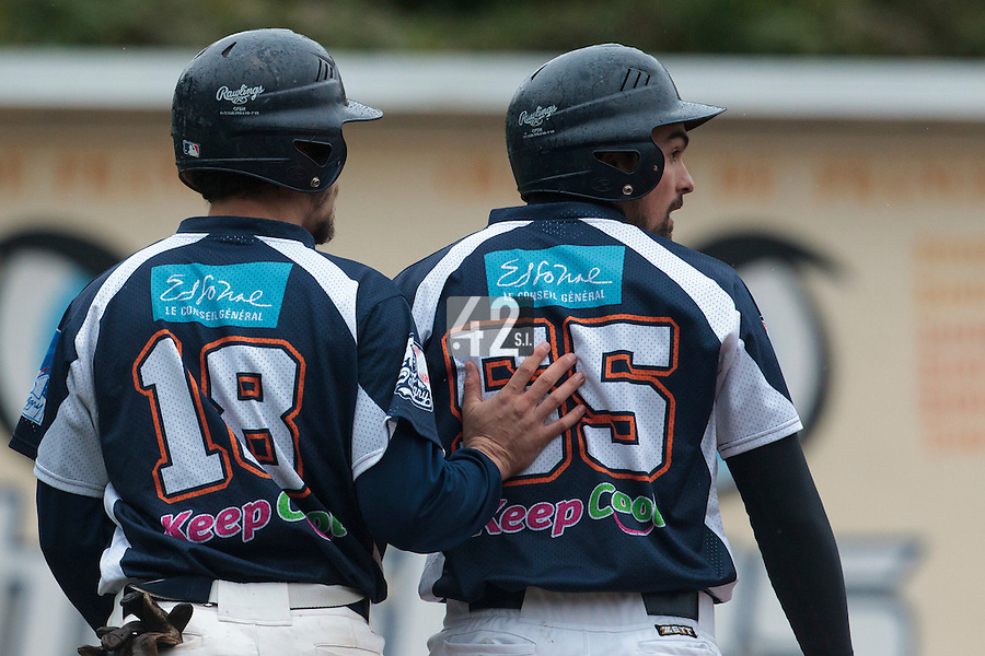 23 October 2010: Florian Peyrichou of Savigny is seen next to Chris Goniot during Savigny 8-7 win (in 12 innings) over Rouen, during game 3 of the French championship finals, in Rouen, France.