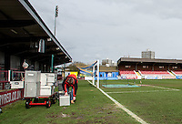 SKYSPORTS pack away their gear as the match is postponed due to a waterlogged pitch at 9.15 am by referee ANDREW MADLEY during the Sky Bet League 2 match between AFC Wimbledon and Portsmouth at the Cherry Red Records Stadium, Kingston, England on the 28th March 2016. Photo by Liam McAvoy.