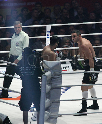 08 09 2012  Mueller WBC World Championship in Moscow Dr Vitali Klitschko vs Manuel Charr boxing World Cup Heavy weight Moscow. Vitaly Klitschko stopped Manuel Charr in the fourth round to retain his WBC world heavyweight title
