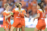 Houston, TX - Saturday Sept. 03, 2016: Ellie Brush, Kealia Ohai celebrates scoring during a regular season National Women's Soccer League (NWSL) match between the Houston Dash and the Orlando Pride at BBVA Compass Stadium.
