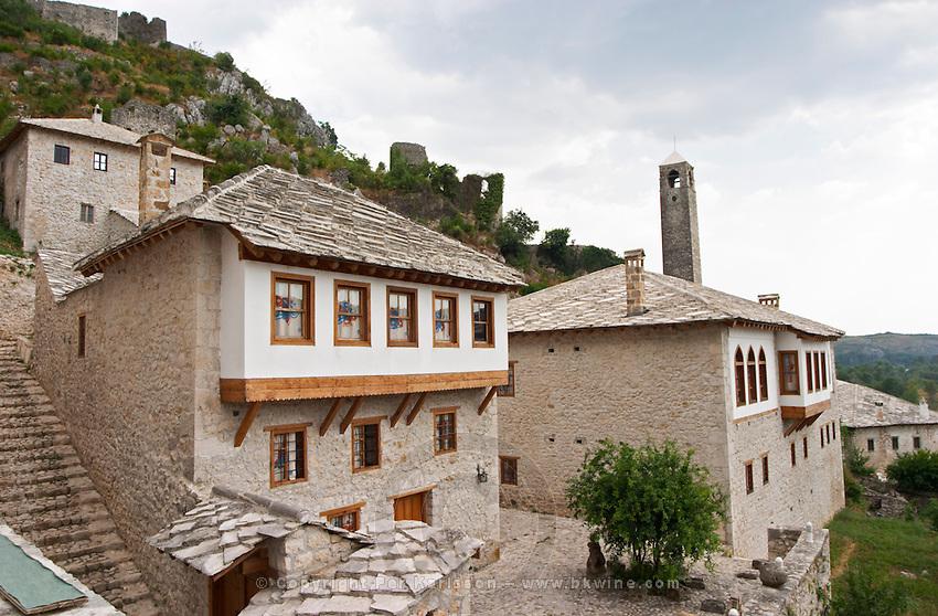 Traditional ottoman houses. Pocitelj historic Muslim and Christian village near Mostar. Federation Bosne i Hercegovine. Bosnia Herzegovina, Europe.