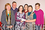 Deirdre Fee, Be Aware, Prevent Suicide second from right, pictured as she presented a cheque to Geraldine Sheedy, Southwest Counselling Centre, Killarney with a donation towards its free suicide prevention counselling service at the centre. Also pictured are Breda Joy, Tom Leslie, Mairead Ní Mhaolain and David Clifford.