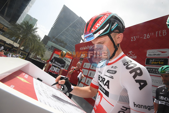 Polish National Champion Rafal Majka (POL) Bora-Hansgrohe at sign on before the start of Stage 2 the Nation Towers Stage of the 2017 Abu Dhabi Tour, running 153km around the city of Abu Dhabi, Abu Dhabi. 24th February 2017<br /> Picture: ANSA/Claudio Peri | Newsfile<br /> <br /> <br /> All photos usage must carry mandatory copyright credit (&copy; Newsfile | ANSA)