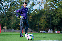 Thursday  13 October 2016<br /> Pictured: Tony Roberts, Swansea City Goalkeeping Coach looks own during training.<br /> Re: Swansea City FC training session at the Fairwood training ground, Swansea, Wales, UK