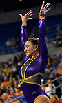 The SEC National Gymnastic Championship was held on Saturday March 24 at Chaifetz Arena on the Saint Louis University campus. Sarah Finnegan of LSU after her performance in the vault.<br />