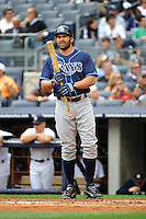 Tampa Bay Rays outfielder Johnny Damon #22 during a game against the New York Yankees at Yankee Stadium on September 21, 2011 in Bronx, NY.  Yankees defeated Rays 4-2.  Tomasso DeRosa/Four Seam Images