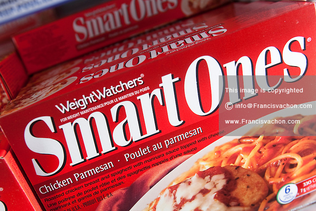 Boxes of WeightWatchers Smart Ones frozen food are seen in a Metro grocery store in Quebec city March 4, 2009.