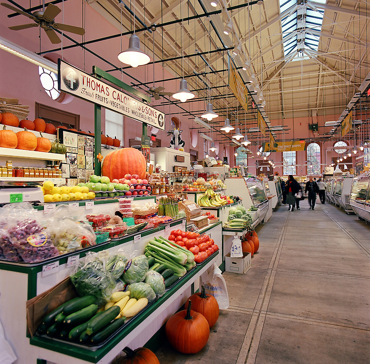 The Eastern Market in Washington D.C.'s Capitol Hill neighborhood has been in continuous operation since 1873 and is the only market retaining its original public market function.  The market offers a large variety of fresh local fruits and vegetables, flowers, meat, and other products..
