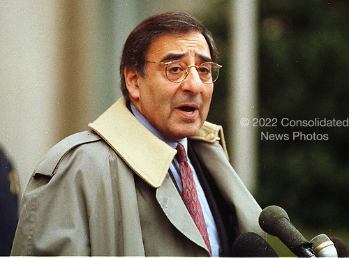 Former White House Chief of Staff Leon Panetta speaks to reporters outside United States District Court in Washington, D.C. after his day of testimony before the Grand Jury on the Lewinsky Affair on January 28, 1998..Credit: Ron Sachs / CNP