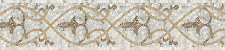 "9"" Elegante border, a hand-cut stone mosaic, shown in polished Calacatta Tia, honed Jura Grey, and Jura Beige."