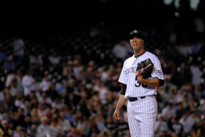 06 June 08: Colorado Rockies pitcher Ubaldo Jimenez pauses on the mound during a game against the Milwuakee Brewers. The Rockies defeated the Brewers 6-4 at Coors Field in Denver, Colorado on June 6, 2008.