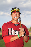Isan Diaz #6 of the AZL Diamondbacks poses before a game against the AZL Padres at the Peoria Sports Complex on July 7, 2014 in Peoria, Arizona. (Larry Goren/Four Seam Images)