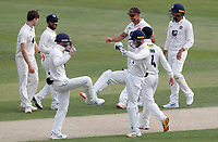 Kent team celebrate taking the wicket of Feroze Khushi during Essex CCC vs Kent CCC, Bob Willis Trophy Cricket at The Cloudfm County Ground on 2nd August 2020
