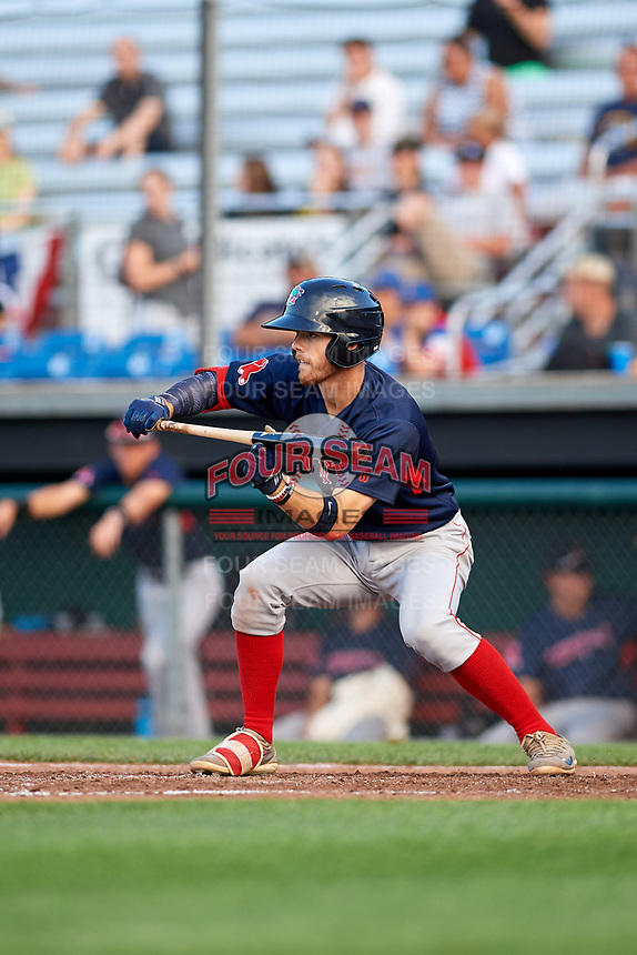 Lowell Spinners shortstop Korby Batesole (12) squares to bunt during a game against the Auburn Doubledays on July 13, 2018 at Falcon Park in Auburn, New York.  Lowell defeated Auburn 8-5.  (Mike Janes/Four Seam Images)